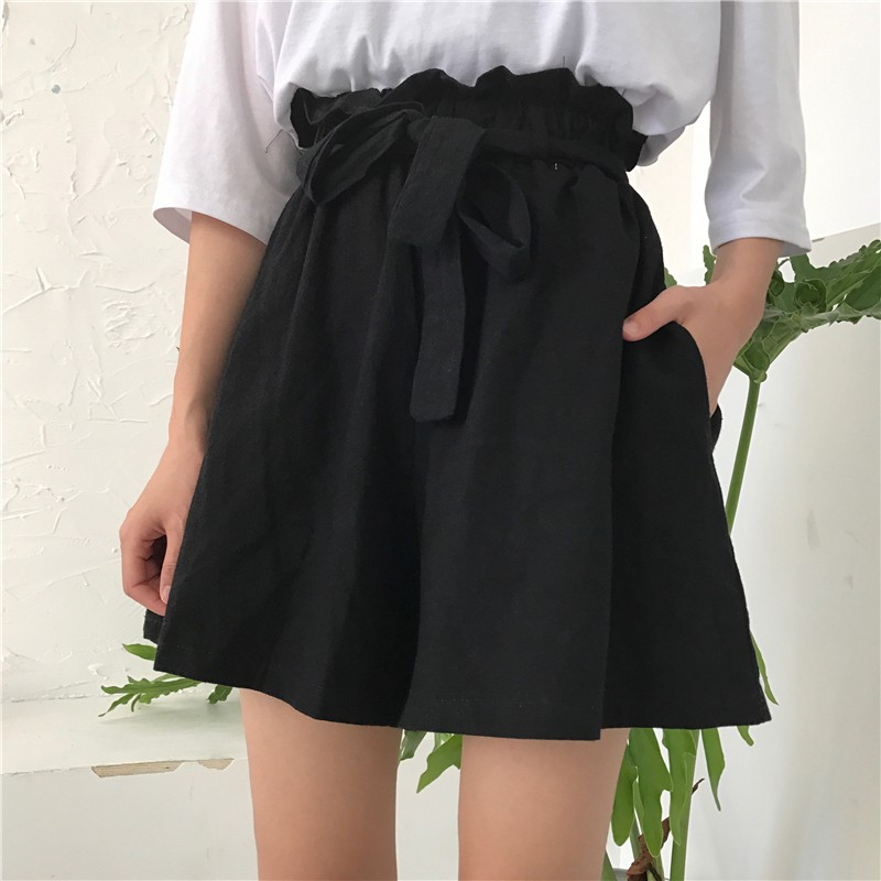 MKL005 Quần giả váy chun eo thắt nơ màu đen