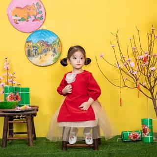 Áo dài nhung đỏ cho bé gái diện Tết, Áo dài cho bé, áo dài cách tân cho bé gái