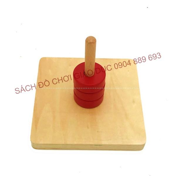 Chốt thẳng với 3 hình tròn có lỗ, Khoanh tròn đỏ và trục thẳng đứng - Giáo cụ montessori cho trẻ từ