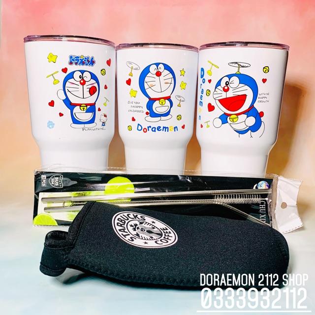 Combo ly giữ nhiệt DORAEMON (tặng kèm túi xách ly và bộ 2 ống hút inox và cọ rửa ống hút)