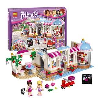 (Tặng xếp hình gỗ 10k) Lego Bela Friends 444pcs -Quán Cà Phê Bánh Ngọt Heartlake 10496/01031