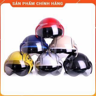 Mũ bảo hiểm có kính SPO (Đen) Mũ bảo hiểm nửa đầu có kính chống bụi thời trang.