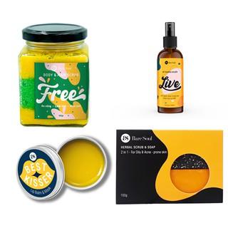 Combo Muối tắm BareSoul Free Body-Hair Scrub 300g+Xà phòng Herbal Scrub & Soap 100g+Lip Balm & Mask 10g+Xịt khuẩn 100ml thumbnail