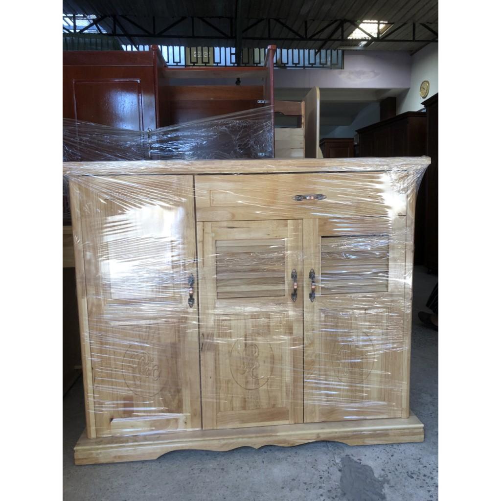 Tủ giày dép gỗ tự nhiên 3 cánh 2 ngăn kéo ngang 1m2 màu tự nhiên