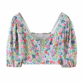 French style vintage floral zipper lantern sleeve back elastic printed top split zipper printed skirt 6