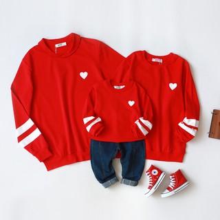 Áo hoodie gia đình Familylove - Áo khoác hoodie gia đình hình trái tim kẻ sọc chất liệu nỉ da cá mềm mịn thumbnail