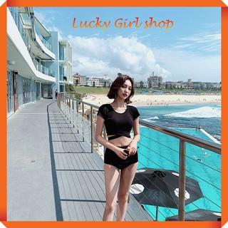 [HAND MADE] Bộ Bơi Đồ Bơi Nữ Dệt Kim Quần Cạp Cao Và Áo Tay Ngắn Hàn Quốc Free Size – Lucky Girl shop