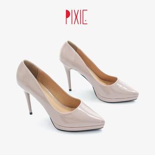 Giày Cao Gót 9cm Đế Đúp Da Bóng Mũi Nhọn Màu Hồng Pixie P672
