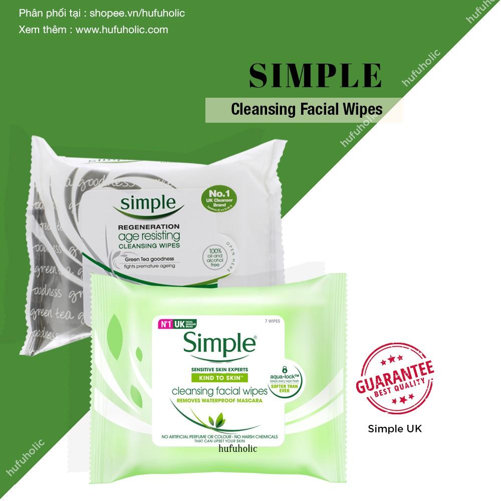 SIMPLE - Khăn ướt tẩy trang làm sạch dịu nhẹ 25 miếng Cleansing Facial Wipes (Bill Anh UK)