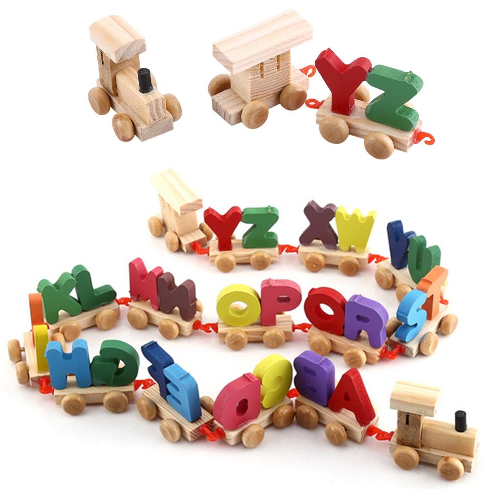 Wooden Train Figure Model Toy With Alphabetical Letters Educational Assemble Alphabet
