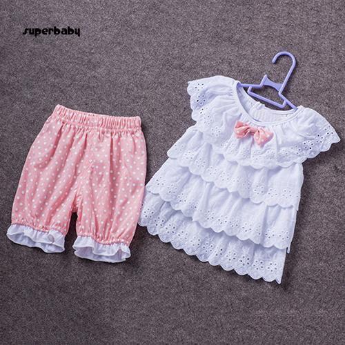 SBaby-Kids Baby Girls Summer Ruffled Bow Top T-shirt + Dot Shorts Outfit Clothing Set