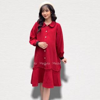 MEDYLA - Váy bầu công sở nhung lì cho bầu tự tin đi chơi, du lịch, đám cưới siêu xinh - VS382 thumbnail
