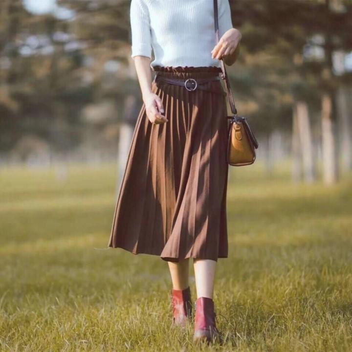 Chân váy xếp li dáng dài kèm Belt_CHÂN VÁY XOÈ XẾP LI DÁN