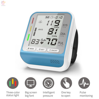 ET Electronic Wrist Blood Pressure Monitor with Tri-color Indicator Light 2 Users 99 Groups Data Storage Portable Household Sphygmomanometer
