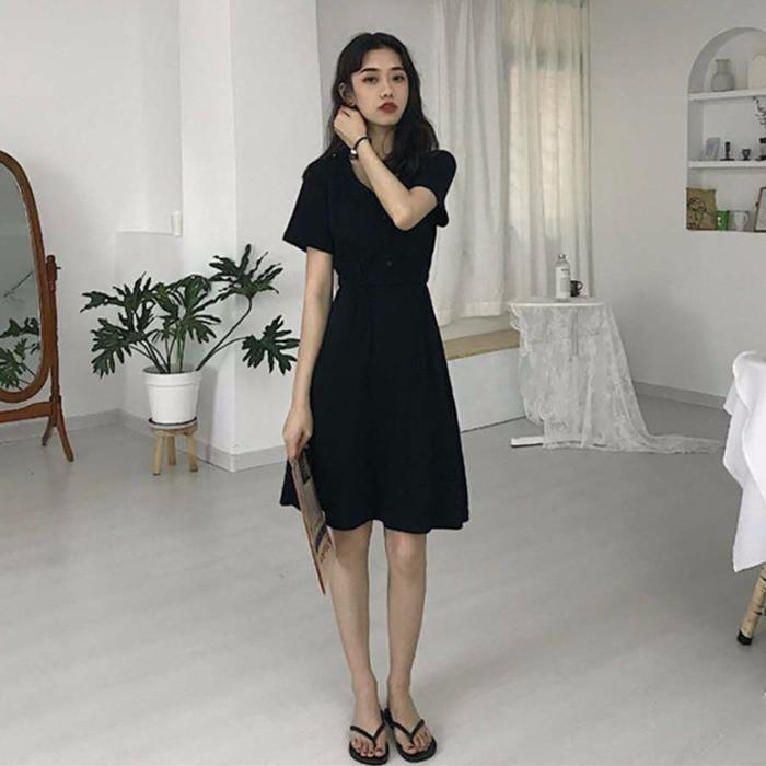 Dress v-neck slim temperament little black dress girl French platycodon skirt
