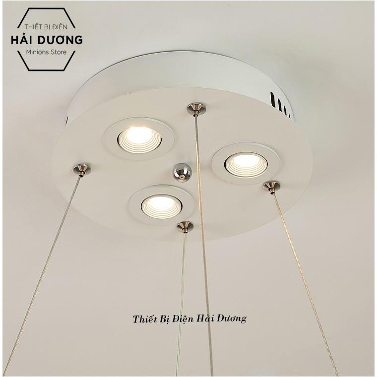 Đèn Chùm Lông Vũ Vòng Tròn 60cm Phong Cách Bắc Âu Decor Lighting - 3 Chế Độ Ánh Sáng - Đã Bao Gồm Bóng