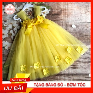 Đầm công chúa cho bé ❤️FREESHIP❤️ Đầm công chúa cho bé hoa 3d đính hoa tú cầu dưới chân
