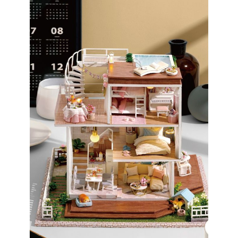 Kèm Mica, nhạc và keo dán – Mô hình nhà gỗ búp bê Dollhouse DIY – A077 So Well