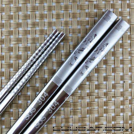 Bộ đũa inox 304 (6 đôi) chống trượt siêu bền hoa văn rồng