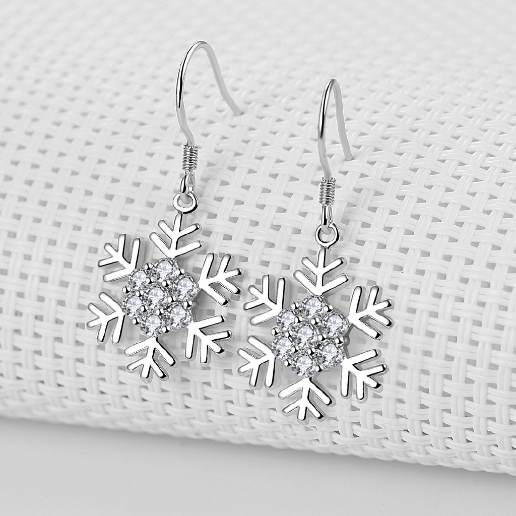 Christmas Gifts With Diamond Earrings Long Fringed Silver -
