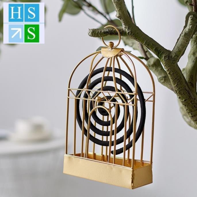Lồng đựng nhang muỗi hình lồng chim, khay đựng hương muỗi bằng sắt thép tiện xách mang theo, treo tường an toàn cho trẻ