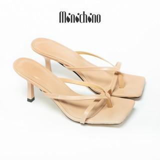 Giày đế xuồngt nữ cao 7cm MINICHINO sục nữ gót nhọn mũi vuông, phối dây thời trang màu nude TC030 thumbnail