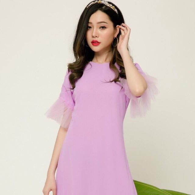 Váy tím phối voan xinh nhẹ nhàng thơ mộng