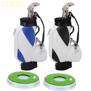 Lemen Mini Desktop Zinc Alloy Golf Bag Pen Holder Base with Pens Souvenir Set Gift