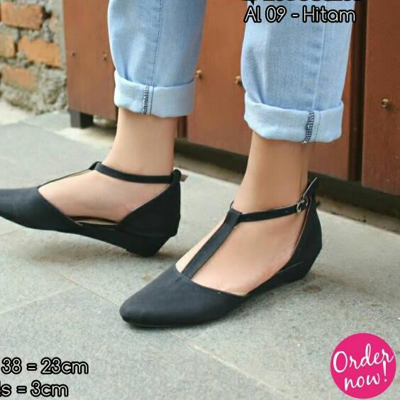 ❀rcd» *PROMO* Fsb - Wedges Flat Shoes Wanita AL 09 - Hitam