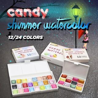 Set 12 24 ô màu nước nén có hộp kim loại thumbnail