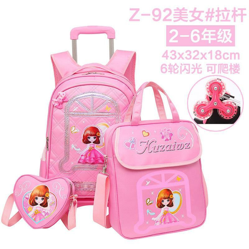 Pupils Trolley Schoolbags 1-3-5 Grade Girls 6-12 Years Old Children's Schoolbag