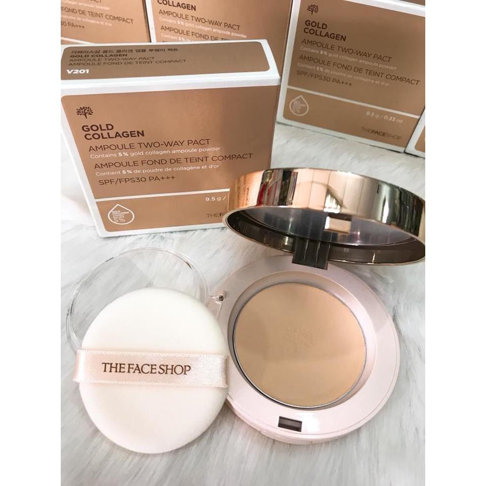 Phấn nền Gold Collagen Ampoule Two-way Pact The FaceShop chính hãng Hàn Quốc