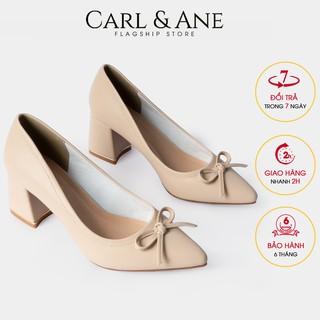 Carl & Ane - Giày cao gót bít mũi phối nơ gót vuông cao 5cm màu nude _ CP005