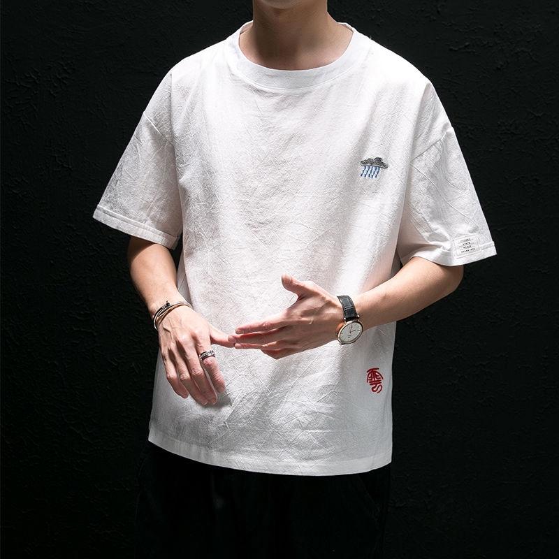 Áo thun tay ngắn dáng rộng bằng cotton cho nam