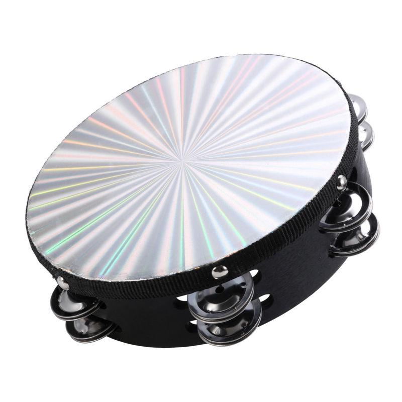 8 inch Reflective Tambourine Percussion Double Row-Stock Church Band Music Party