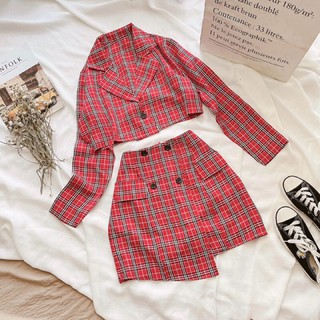 Set váy áo vest caro croptop