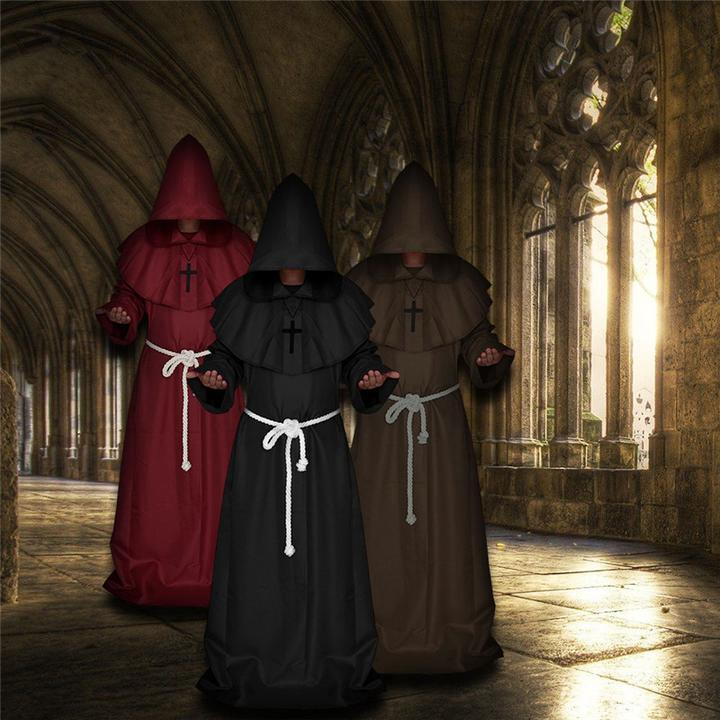 Hot Halloween Cosplay Hooded Monk Halloween Costume Medieval Friar