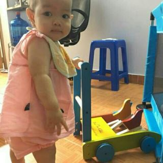 (FREESHIP ĐƠN 99K )Xe gỗ gà con đáng iu tập đi cho bé kèm hình thật