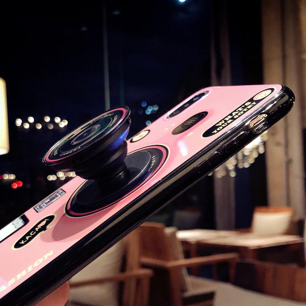 Stand Holder Silicone Retractable Retro With Finger Ring Cover Camera Air Bag Bracket For IPhone