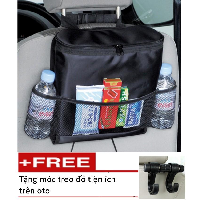 Túi đựng đồ lạnh du lịch trên ô tô TL 066 (Đen) tặng móc treo đồ tiện ích