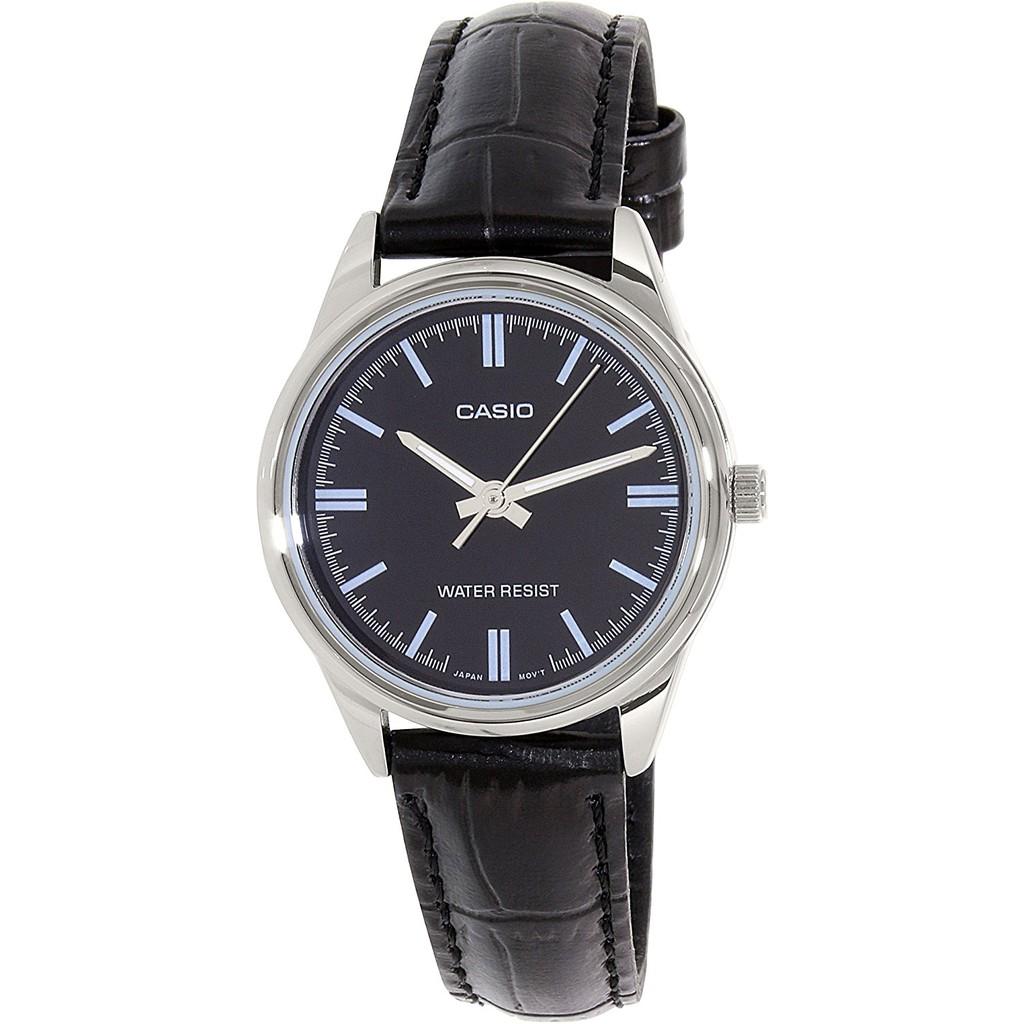(Authentic) Đồng hồ nữ Casio dây da bò thật màu đen, mặt khoáng, kim phản quang dòng LTP xách tay Nh