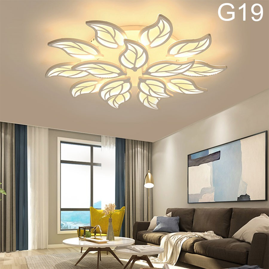 ĐÈn ốp trần phòng khách, đèn LED trang trí G20 15 cánh lá, 3 chế độ sáng kèm điều khiển từ xa tăng chỉnh ánh sáng
