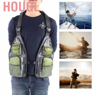 Hougl Multi-functional Breathable Mesh Fishing Vest Quick-Dry Fly Lightweight design with Large Capacity eq