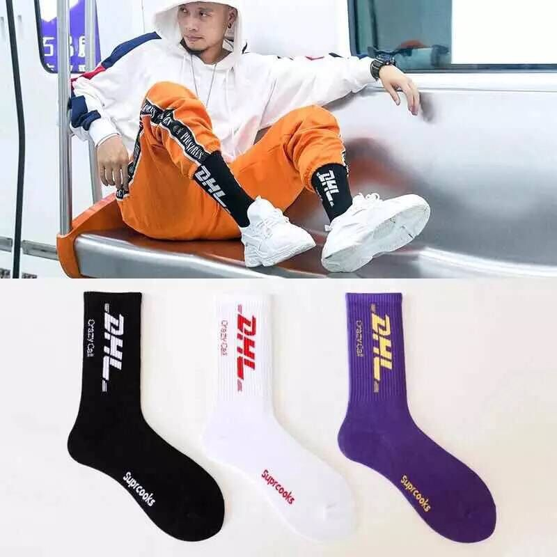 ♙☽Stockings men in Europe and the US street hip-hop personality trend male Sports basketball socks tide middle cylinder