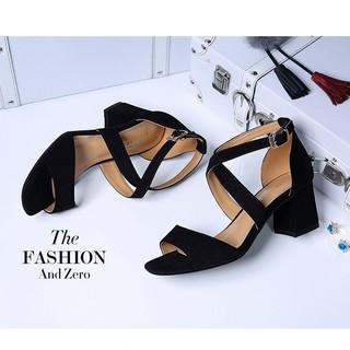 Giày Cao Gót Nữ Quai Chéo Mảnh Đế Vuông 5cm thumbnail