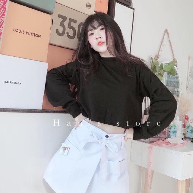 Áo thun croptop cổ tròn tay dài basic đen trắng ( sp y hình 100% )