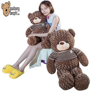Gấu teddy áo len cao cấp màu hạt dẻ khổ vải 1m2 chiều cao thật 1m