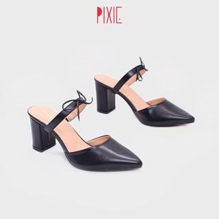 Giày Sục Cao Gót 7cm Đế Vuông Pixie P354