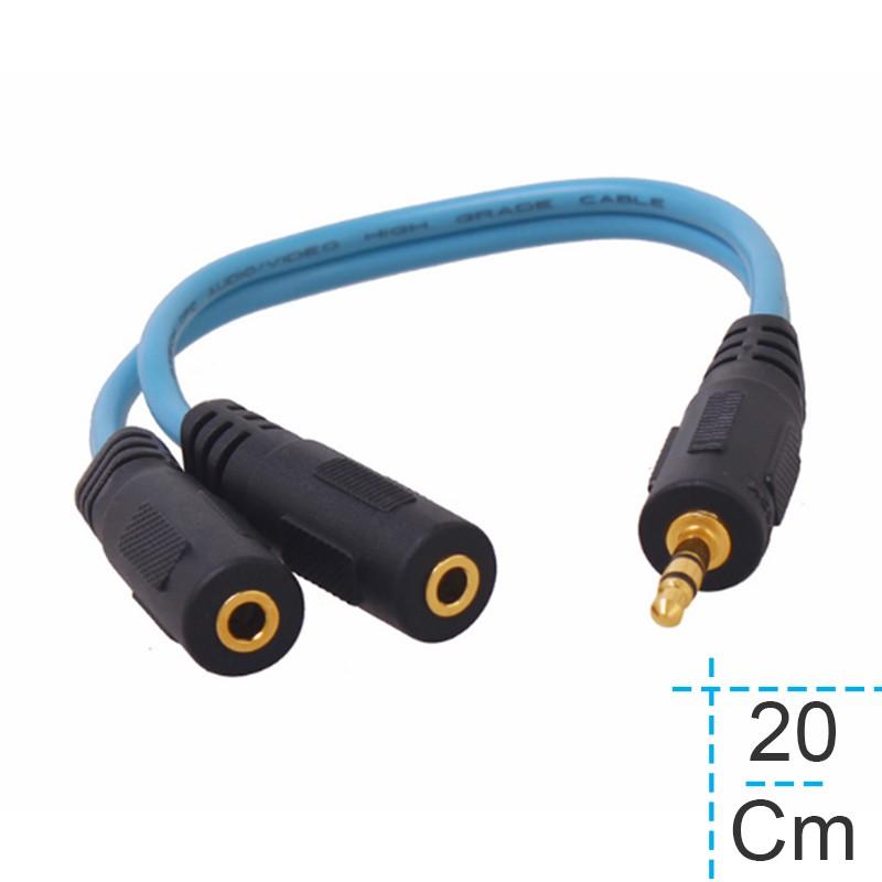 Cáp chia 1 đầu 3.5mm đực ra 2 đầu 3.5mm cái ngắn 20Cm DTECH DT-6236 (dây màu đen)
