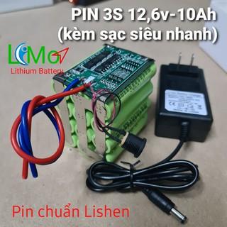 LIMO – Khối pin 3S 12,6v – 10Ah Xả 40A (Hàng loại 1, chuẩn dung lượng). Tặng kèm sạc siêu nhanh Lithium 12,6v